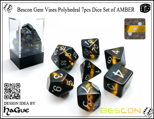 Bescon Gem Vines Polyhedral 7pcs Dice Set of AMBER-1