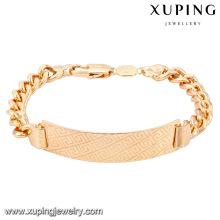 Pulseras de cobre amarillo de la moda de la joyería 74623-Xuping con el oro 18K plateado
