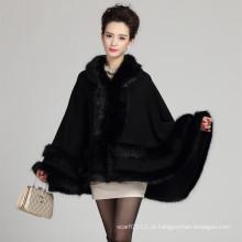 Senhora fashion com capuz acrílico de malha xale de inverno de pele (yky4467)