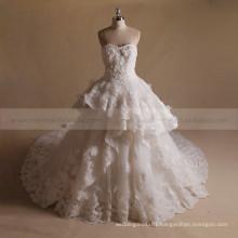 Noble Princess A-line Sweet Heart Multi Layers Wedding Dress Shinning Hand Flowers