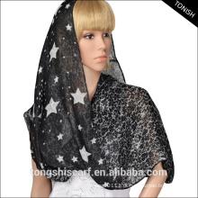 Lenço do voile da camada dobro da infinidade do lenço da infinidade da senhora com estrelas e impressão do laço
