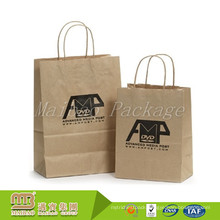 Durable Custom Made Recycled Brown Kraftpaper Bag With Paper Handle