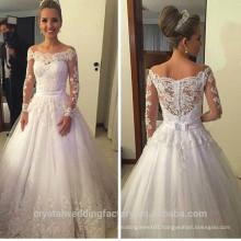 Vestidos De Noiva Lace Wedding Dresses 2016 Boat Neck Long Sleeve Appliques Ribbons Ball Gown Bridal Dress CWFW2385