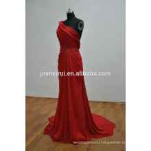 2016 new long party evening dresses chiffon red elegant one shoulder evening dresses with ruched a-line party dresses