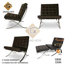 Chaise de bureau cuir véritable brun foncé (GV-BC01)
