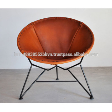 Round shape brown leather chair