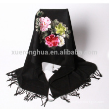 High quality black hand embroidered floral pattern cashmere shawl