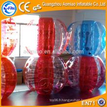 Ballon de zorb nouveau corps à demi coloré, ballon à rebond gonflable à moitié rouge / bleu
