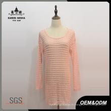 Robe longue tricotée en treillis pour femmes
