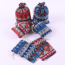 Wholesale high quailty colorful jewelry packaging custom printed cotton linen drawstring pocket