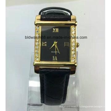 Выдвиженческий Малый наручные золотые часы с Кожаный ремешок
