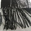 Tela preta de Embroiery da lantejoula da franja para o vestido de noite