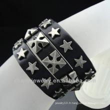 Men Star Rivet Bracelet Bracelet en cuir brun véritable BGL-011
