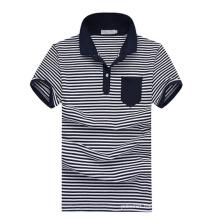 Short Sleeve Wholesale White Navy Blue Striped Polo Shirts