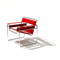Marcel Breuer Metal Leather Wassily Lounge Armchair