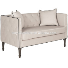 Simple style 2 seater leather sofa with metal nail XYN1739