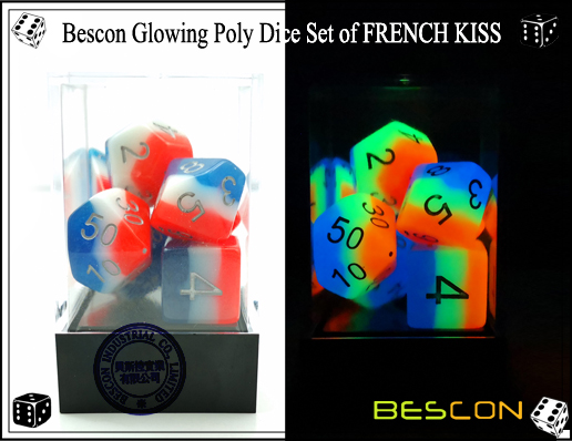 Bescon Glowing Poly Dice Set of FRENCH KISS-8