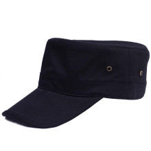 Cotton twill Adjustable 4 metal eyelets flat top military cap Men's Army Cap with border on brim