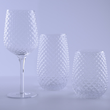 Clear Hobnail Highball Weinglas-Set