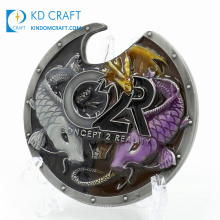 High quality personalized custom embossed 3D fish logo metal antique plated wine beer customize bottle opener challenge coin