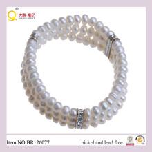 Triple 6-7mm Button Shape Freshwater Pearl Bracelet, Fashion Bracelet as Mother′s Day Gift