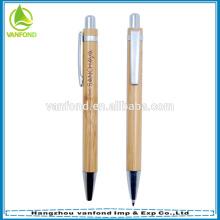 Logotipo gravado personalizado promocional bambu ballpen com clipe de metal