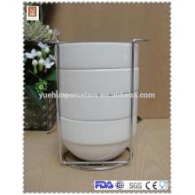 4 pcs tigela com prateleira metálica tigela empilhável cerâmica
