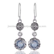 Голубой Топаз Gemstone Стерлингового Серебра 925 Серьги