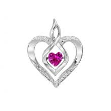 Sterling Silber Rhythmus der Liebe Halskette mit geschaffen Ruby