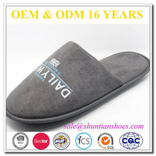 Micro suede with printing pattern indoor slippers mens