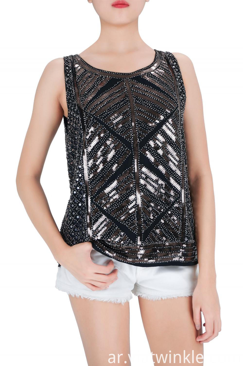 Embroidered Sequins Tank Tops