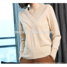 P18B10TR lady's 100% cashmere V-neck sweater