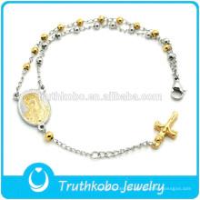 Pulsera de abalorios joyería de rosario en acero inoxidable virgen mary encanto cruz colgante dongguan al por mayor de alta calidad