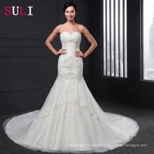Q-013 Vestido de boda Backless de la sirena del amor atractivo 2016 Vestido de Novia