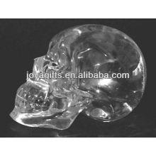 Crâne en cristal clair sculpté à la main de 2 po