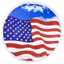 100% polyester American flag round beach towels for adults