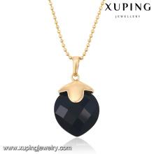 32652 Fashion Elegant Black CZ Stone 18k Colgante de cadena de joyería de imitación chapado en oro