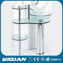 Hot Sell Free Standing Tempered Glass Wash Basin Simple Design Countertop Glass Bathroom Vanity