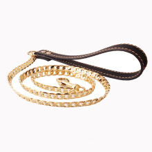 Factory Drop Shipping 12mm Leather Pure Copper Nk Gold Plated Dog Chain Leash Dog Leash Pet Supplies Dog Supplies