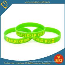 Bracelet promotionnel imprimé en silicone imprimé vert (LN-020)