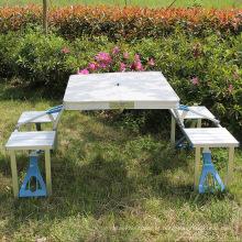Mesa dobrável com 4 cadeiras dobráveis Altura ajustável de alumínio com furo parasol
