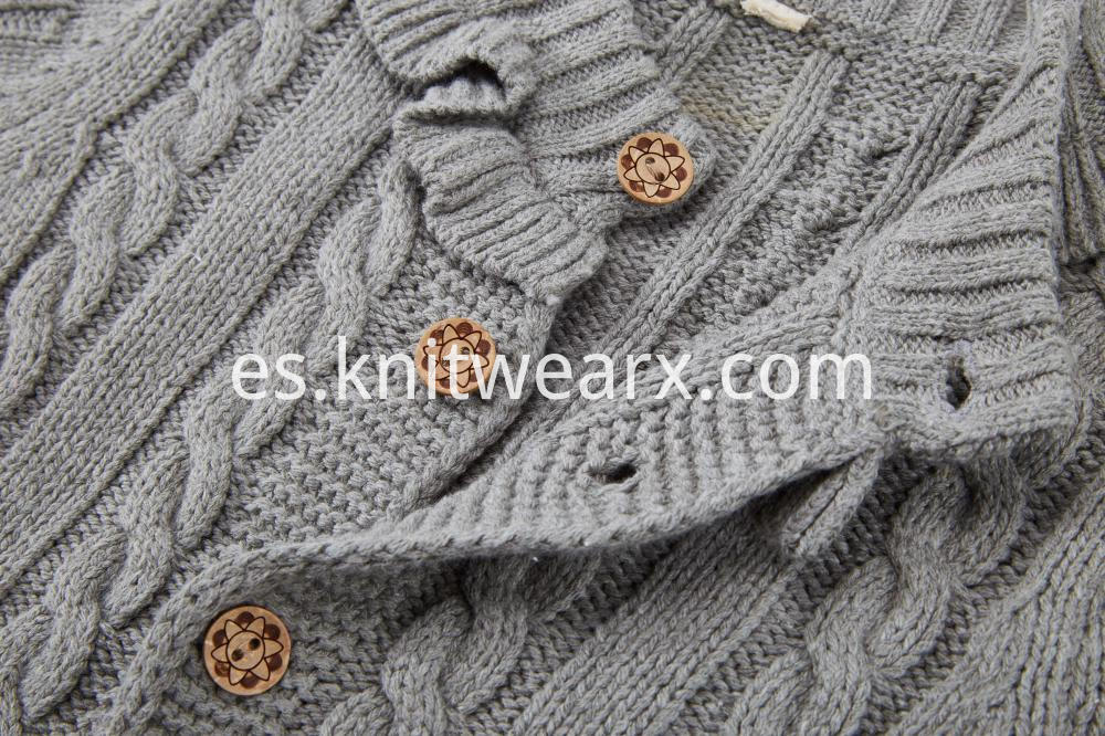 Girl's Button Cable Cardigan