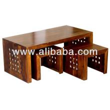 Mesa de café de madera maciza conjunto de 3