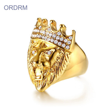 Partihandel Iced Out Smycken Crystal Gold Lion Ring