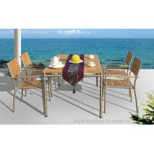 Outdoor Garden Patio Dining Table Restaurant Chair Furniture Set Fsc Teak Wood #304 Stainless Steel