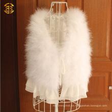 Venta al por mayor más barato chaleco de piel de plumas de pavo blanco con alambre borda