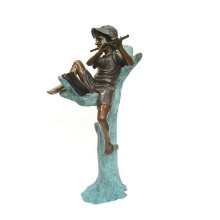 outdoor garden decoration metal craft boy playing flute bronze statue