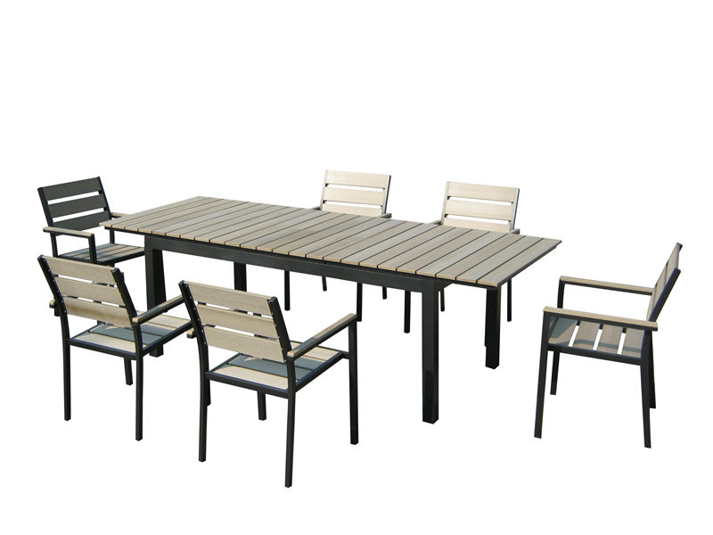 7pc aluminum plastic extension dining set S1804
