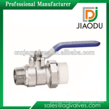 hs code DN15 DN20 1/2'' 3/4'' Male and single union brass forged body china pp-r brass ppr insert ball valve for water