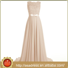 BD94 Champagne Pink Hand Embroidery Long Cheap Bridesmaid Dresses